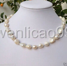 new Fine 9-10mm White Freshwater baroque Pearl Necklace 18""