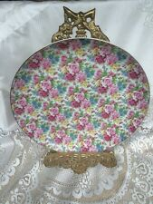 Collectible Chintz Decorative Plate With Ornate Brass Stand