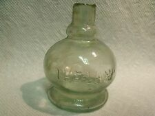 ANTIQUE 19TH CENTURY 'THE LAMP' EMBOSSED SHEARED NECK GREEN GLASS INK BOTTLE
