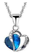 Double Heart Pendant Zircon Crystals Necklace
