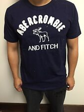 Abercrombie and Fitch Deer Design Navy Men T-Shirt Large