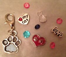 LOVE MY CAT  10 Pc.Floating Locket Charm GIFT SET! 4 Charms! Bonus CLIP-ON CHARM
