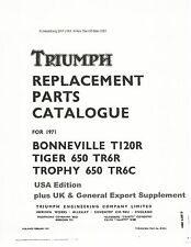 Triumph Parts Manual Book 1971 TR6R TIGER 650, TR6C TROPHY 650 & T120R BONNEVILL