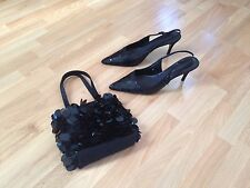 Ladies Black Sequin M&S Pointed Slingback Shoes-Size 6.5, With Matching Next Bag