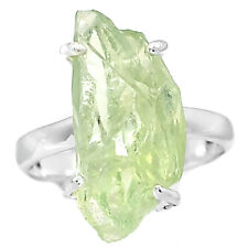 Green Amethyst Rough 925 Sterling Silver Ring Jewelry s.6 GARR41