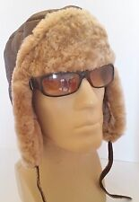 NEW men's Sheepskin Russian Trapper Bomber Pilot Aviator Hat Real Leather L-XL