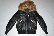 AUTHENTIC MACKAGE GLEN BOMBER DOWN LEATHER BLACK FUR HOOD MEN PARKA SIZE 40 NEW