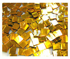 "110 Mosaic Tiles 1/2"" SPARKLING GOLD MIRRORS Premium MIRROR Stained Glass"