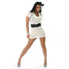 SEXY abito VESTITO in maglina bianco con CINTURA taglia S/M fashion GLAMOUR !