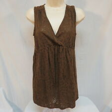Motherhood  Maternity Brown with Sheer Flowers Shirt w Tie in Back Size L