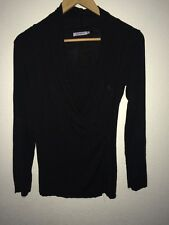 Mayreau Black Top Long Sleeve Crossover With Insert Front  R4371