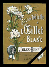 Vintage Perfume Soap Label: French Paris Antique Oeillet Jules-Henri Paris