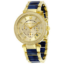 Michael Kors Champagne Dial Gold-Plated Blue Tortoise Shell Ladies Watch  MK6238
