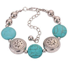 Adjustable Charm Tibetan Silver Oblate Beaded Turquoise Chain Bracelet for Women