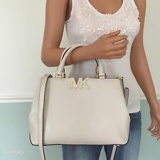NEW! MICHAEL KORS Vanilla White Leather Medium Satchel Shoulder Bag Purse