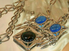 Very Cool Vintage 60's Blue Green Lucite Modernist Necklace 576JL6