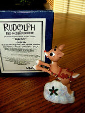 """Enesco Rudolph the Red Nosed Reindeer 3"""" Mini Figurine EUC Boxed #104543A 1992"""