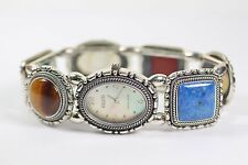 Ecclissi Sterling Silver Multi Gemstone Ladies Stretch Band Pearl Face Watch