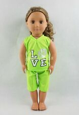 The LOVE Green Jersey With Shorts For 18''American Girl Doll Clothes Girl Gifts