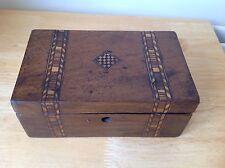 Antiguo Tunbridge Ware Caoba Trabajo/Caja de costura (sin bloqueo) - 20x8x12cms ahora £ 20.00