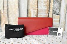 $995 Authentic SAINT LAURENT YSL Red & Pink Leather Two Tone Diagonal Clutch Bag