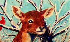 ACEO Original Painting Young Deer in Snow Winter Doe Acrylic by LGarcia