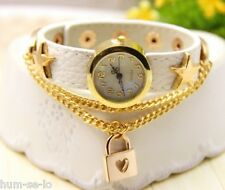 UNIQUE DESIGN LOVE LOCK PENDANT STAR STUDDDED LEATHER STRAP LADIES WATCH- WHITE