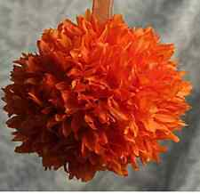 Silk Flower Ball Orange - 6 Inch with Organza Ribbon Crafts Events & Party NEW