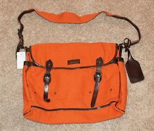 BRAND NEW $168 Polo Ralph Lauren Canvas Leather Messenger Bag Men Orange buckle