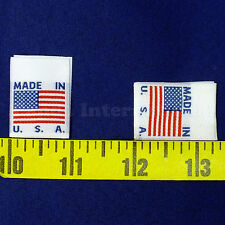 "LARGE High Quality 500 WOVEN American Flag LABELS ""MADE IN USA"" White 1 X 1 3/8"