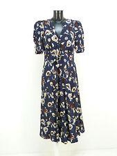 Designer Seiden vestido talla 40/azul con patrones & como nuevo (l 7399 R)