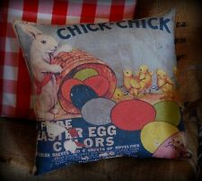 Easter antique vintage spring egg dye spring chicken rabbit bunny pillow old adv