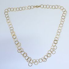 18k Yellow Gold Circle Chain Link Dangle Necklace