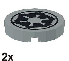 2 NEUE 2x2 Fliesen rund mit StarWars Imperial-Logo in alt-hellgrau (4150ps5)  F5