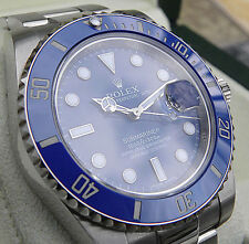 ROLEX MENS 18K WHITE GOLD BLUE SUBMARINER CERAMIC BEZEL #116619