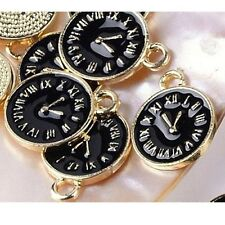 5 x Watch Gold Plated Black Enamel Pendant Charms Alice