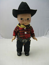VTG 1930s Buddy Lee Doll Composition Jeans Cowboy Black Hat Band Yellow Bandana