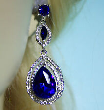 Chandelier Earrings Rhinestone Crystal Bridal Prom Pageant 2.5 inch Long Blue