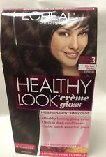 L'Oreal Healthy Look Creme Gloss Hair Color DARKEST BROWN ESPRESSO #3 NEW.