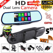 "Android Dual Lens 5"" HD 1080P Car DVR GPS Navigation Rearview Mirror Camera Wifi"
