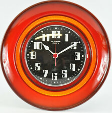 Vintage Wanduhr Keramik Dugena electric 26,3cm 70er 60er RETRO Orange 03-C-WU
