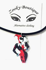 Harley Quinn suicide squad DC Joker Black suede choker pendant necklace jewelry
