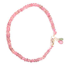 """pink tourmaline bracelet 14k yellow gold  7"""" knotted solid 14k lobster clasp"""