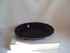 "VINTAGE AVON RUBY RED GLASS CAPE COD PIE PLATE SERVER IN BOX 10.75"" DIAMETER"