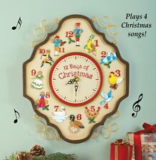 Musical 12 days of Christmas Wall Clock Christmas Decoration Silent Night New