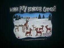 RUDOLPH RED NOSED REINDEER T SHIRT Bass Rankin Wanna Play Reindeer Games Retro M