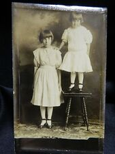 1910s RPPC Two Little Girls w/One Standing on Table Lulu & Ella Adamson Olney IL