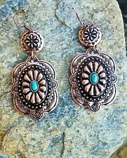 Cowgirl Gypsy CONCHO EARRINGS Faux Turquoise Southwestern Copper tone