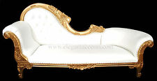 Victorian Chaise Lounge - Gold Finish w/ White Vinyl - Left Raised Head Rest
