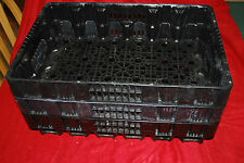 3 Plastic Cola Crate Bottle Case tray  Carrier Soda  Black Stacking plant
